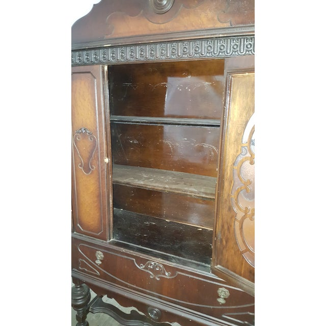 Antique Art Deco Waterfall Armoire - Vintage Waterfall Hutch China Cabinet For Sale In Providence - Image 6 of 7