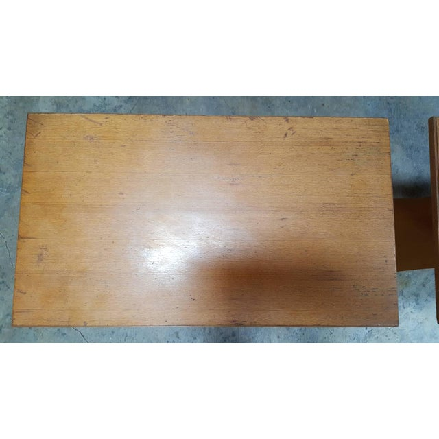 """Frankl Golden Mahogany """"Bell"""" Side Table - Pair - Image 6 of 9"""