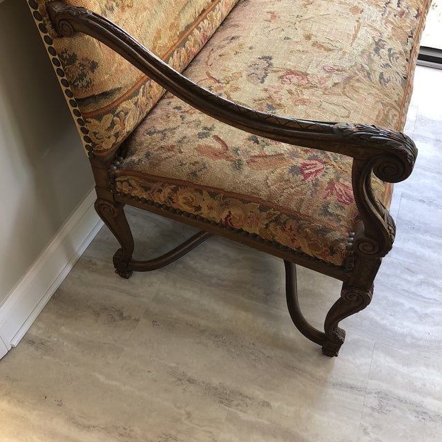 Tan Louis XIV Style Giltwood Settee For Sale - Image 8 of 13