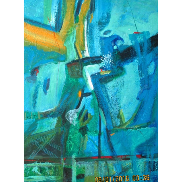 """Summertime Blues"" is an original painting in blues and greens with a touch of red and yellow painted on a 40""x30""..."