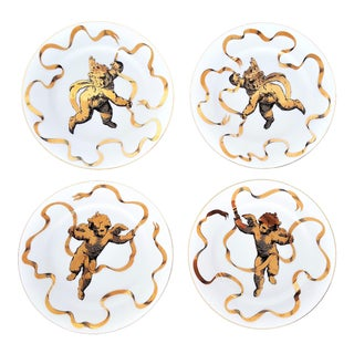 Fornasetti Style Angel Plates by Neiman Marcus -- Set of Four -- Mid Century Modern MCM Hollywood Regency Boho Chic
