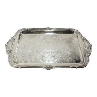 Vintage Sheridan Silverplate Rectangular Serving Tray W Handles For Sale