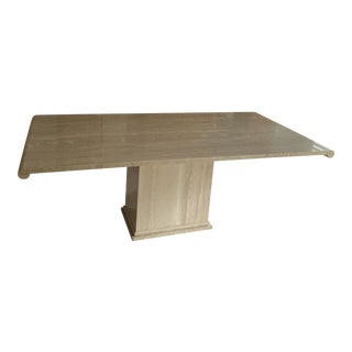 Italian Long Stone International Travertine Marble Dining Table For Sale