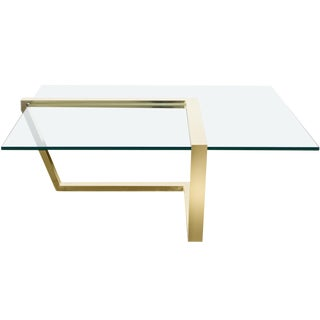 Vintage Brass Cantilevered Coffee Table by Dia For Sale