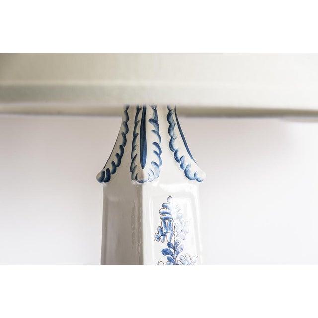 Hollywood Regency Italian Glazed Terra Cotta Blue & White Elephant Obelisks, A-Pair For Sale - Image 3 of 12