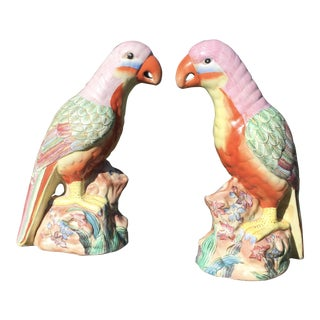 Vintage Hand Painted Porcelain Parrots - a Pair For Sale