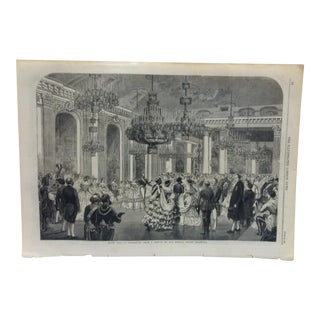 """1860 Antique Illustrated London News """"State Ball at Stockholm"""" Print For Sale"""