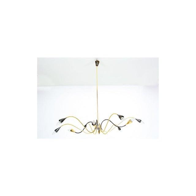 Black Spider Sputnik Stilnovo Style Ten-Arm Brass Chandelier Italy 1950s For Sale - Image 8 of 9