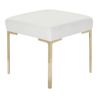 Astor Petite Brass Ottoman in Snow Velvet by Montage For Sale