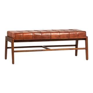 Chestnut Leather & Brown Teak Bench For Sale