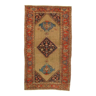 Late 19th Century Antique Persian Bidjar Hand-Knotted Rug - 4′2″ × 7′6″ For Sale