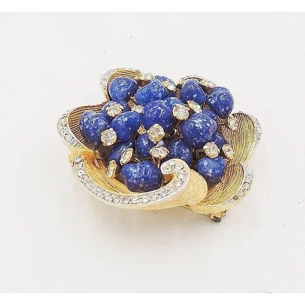 Mid-Century Modern Vintage 1960s Signed Kramer Faux-Lapis Rhinestone Pin For Sale - Image 3 of 8