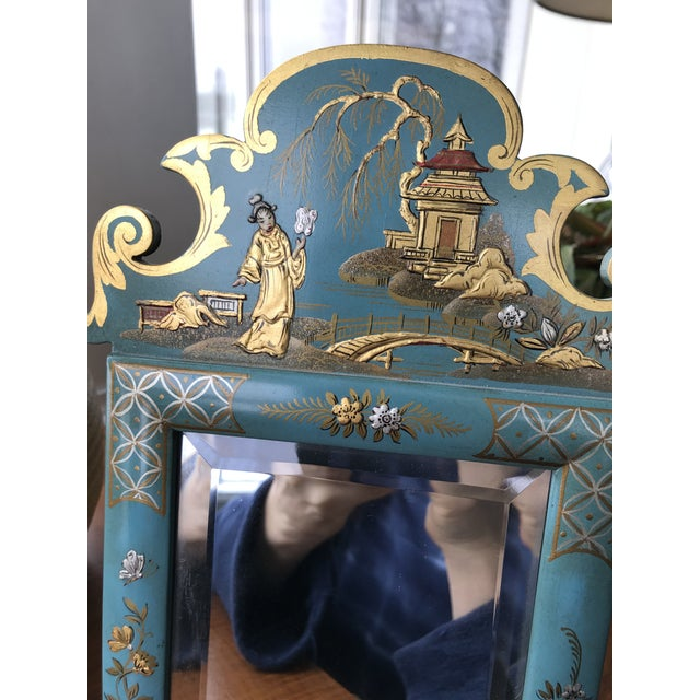 Teal 1970s Vintage Mid Century Chinoiserie Teal Lacquered Pagoda Textured Painting Dressing Mirror For Sale - Image 8 of 12