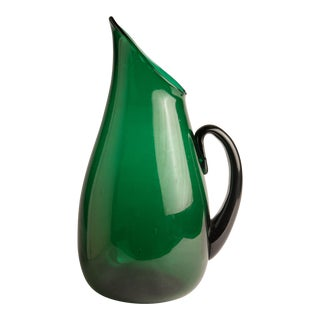 1960s Mid-Century Modern Winslow Anderson for Blenko Green Glass Pointed Spout Pitcher For Sale