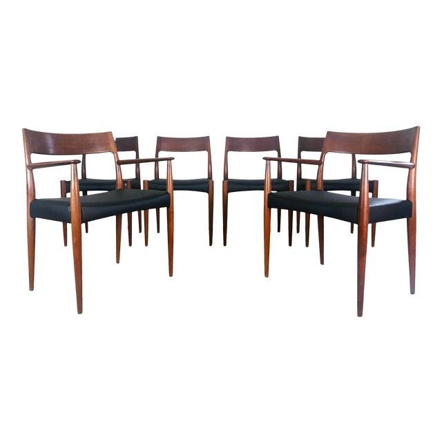 1960s Vintage Arne Hovmand Olsen Danish Teak Dining Chairs - Set of 6 For Sale