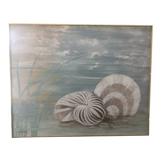1980s Coastal Shell Painting by Lee Reynolds, Framed For Sale