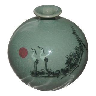1970s Vintage Asian Celadon Crackle Round Vase For Sale