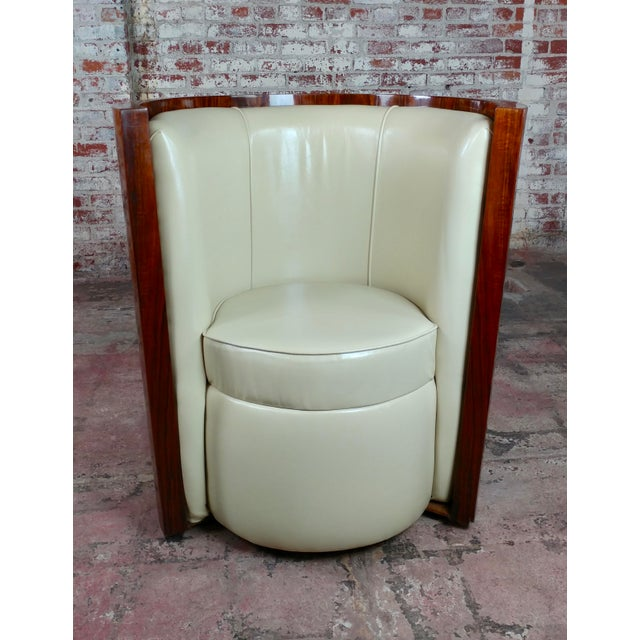 Art Deco Fabulous Burl Walnut Barrel Chairs W/White Leather Seats-A Pair For Sale - Image 4 of 10