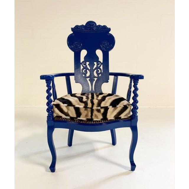 We love this elegant Renaissance revival armchair. The oak needed some TLC so we decided to make it loud and paint it a...