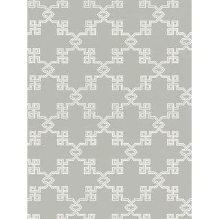 Scalamandre Suzhou Lattice, French Grey Wallpaper For Sale