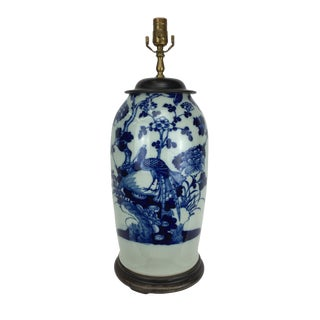 Late 19th Century Chinese Porcelain Lamp With Birds and Flowers For Sale