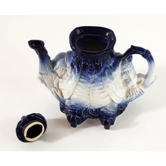 Figurative Flow Blue & White Staffordshire Style Figural Toby Judge Teapot For Sale - Image 3 of 9
