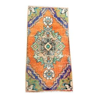 Antique Turkish Handmade Decorative Rug- 1′4″ × 2′8″ For Sale