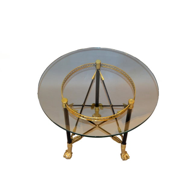 1970s Round Bronze Glass Coffee Table Ball and Claw Feet For Sale - Image 5 of 13