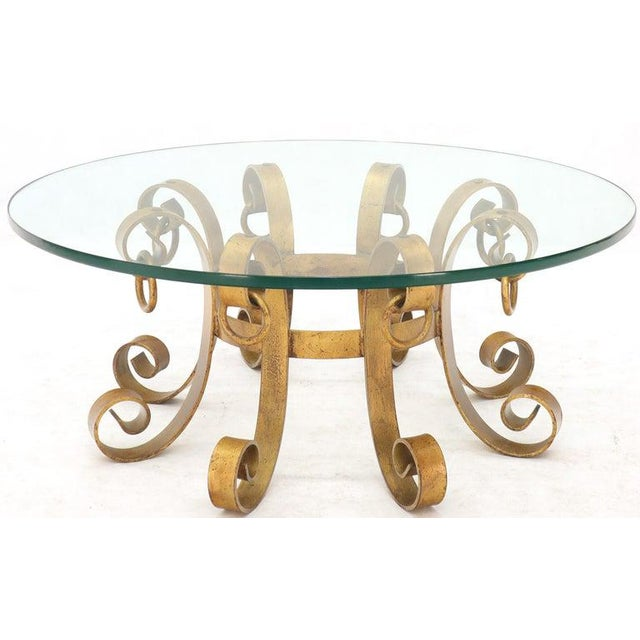 Gold Round Decorative Gilt Wrought Iron Base Glass Top Sunburst Coffee Table For Sale - Image 8 of 13