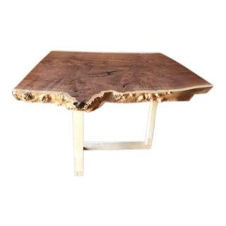 Custom Live Edge Solid Claro Walnut Slab Coffee Table For Sale