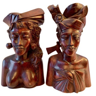Pair of Signed Balinese Figure Bookends For Sale