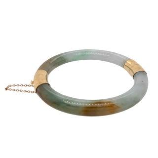 1950s Vintage Chinese 14k Gold Jade Bangle Bracelet For Sale