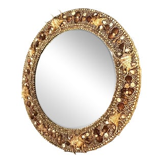 Large Round Shell Mirror