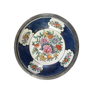 Hand Painted Ceramic And Pewter Bowl For Sale