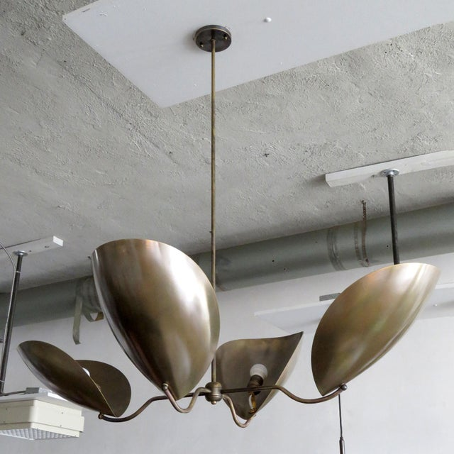 """Contemporary Mid-Century Modern Four-Arm Raw Brass """"Chiton"""" Chandelier For Sale - Image 3 of 11"""