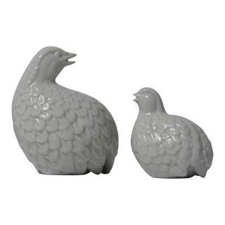 White Porcelain Partridges - a Pair For Sale
