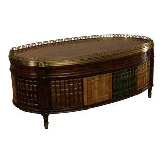 Maitland Smith Regency Style Mahogany and Faux Leather Bound Book Coffee table For Sale