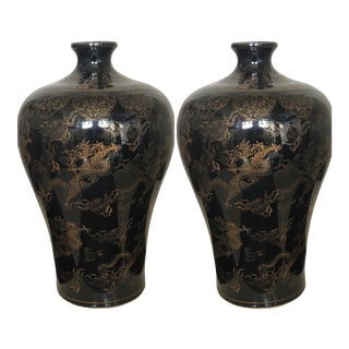 Hollywood Regency Chinese Chinoiserie Black & Gold Dragon Porcelain Vase Urns - APair
