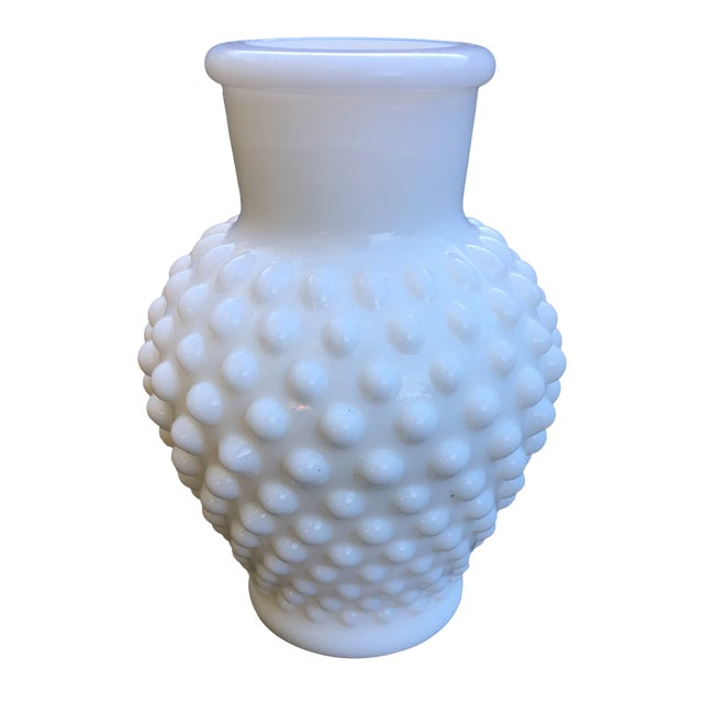 1960s Vintage Hobnail Milk Glass Vase Chairish