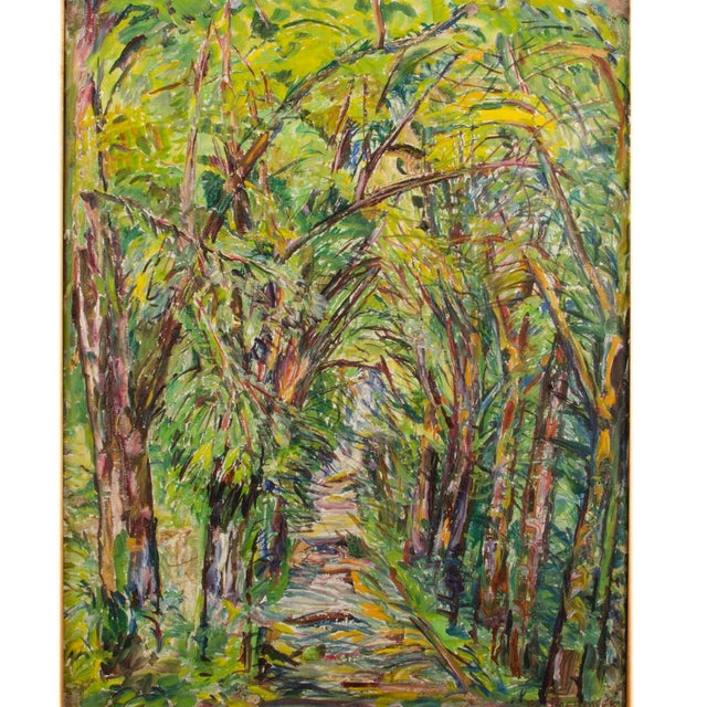 """Mid 20th Century Mid 20th Century """"Allee"""" Expressionist Style Forest Landscape Oil Painting by Elisabeth Merlicek, Framed For Sale - Image 5 of 13"""