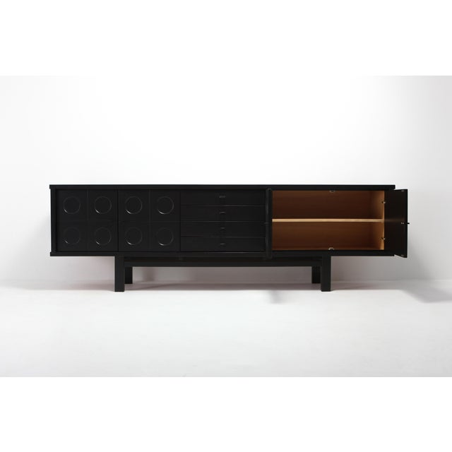 Black Brutalist Credenza With Floating Effect For Sale - Image 4 of 8