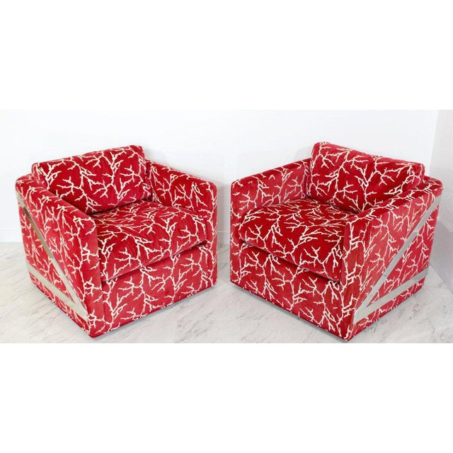 For your consideration is a magnificent pair of cube lounge chairs, with unique wrap-around chrome, on casters, by Erwin-...
