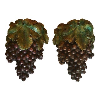 Plaster of Paris Grape Cluster Wall Pockets - A Pair For Sale