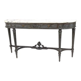 Louis XVI Carved Marble Top Console Table For Sale