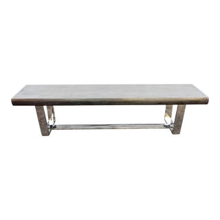 Modern Chrome & Grain Rich Elm Bench