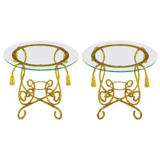 Pair of Italian Gilt Iron Rope Tables With Tassel Ornamentation For Sale