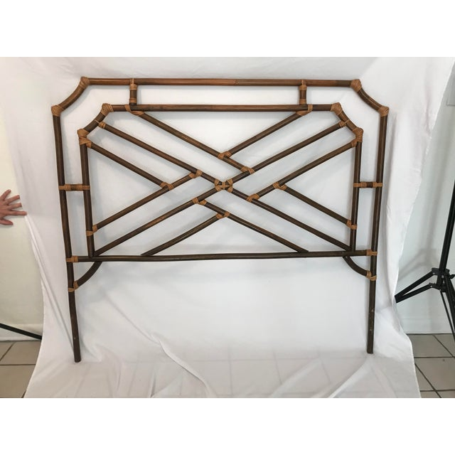 Vintage Chippendale Double or Queen Bamboo Pagoda Headboard For Sale - Image 9 of 9