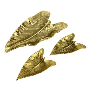 Vintage Mid-Century Brass Calla Lily Leaf Catchall & Ashtray Set - 3 Pieces For Sale