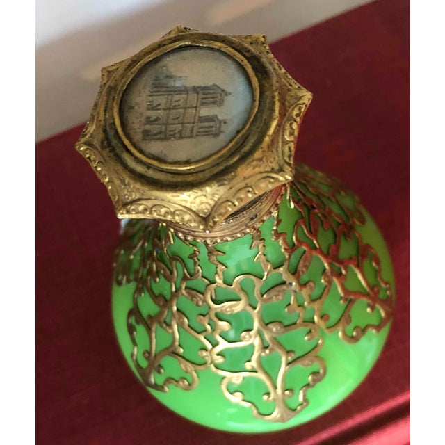 Art Nouveau Antique Palais Royal French 19th Century Opaline Perfume Bottle Green With Cased Gold For Sale - Image 3 of 5