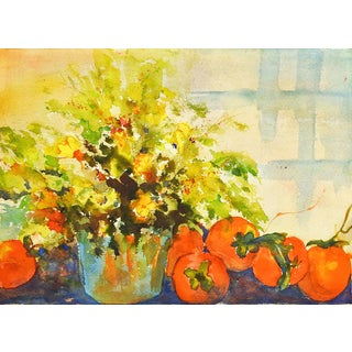 1960s Impressionist Persimmon & Floral Still Life Watercolor Painting